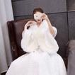 Umelá kožušina svadobný teplý šál veľkého rozmeru nevesta plášť