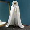 Zima s kapucňou dlhý plášť teplý plyšový šál biely hustý plášť