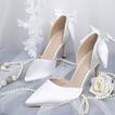 Biele svadobné topánky saténové svadobné topánky vysoké podpätky jesenné a zimné modely
