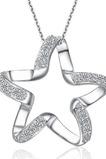 Kľučkové ženy Strieborná Päťcestná hviezda Inlaid diamantový náhrdelník
