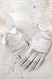 Hrubý plný prst Butterfly Knot Taffeta Vintage svadobné rukavice