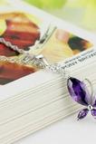 Módne fialová Inlaid diamant Insect Silver náhrdelník
