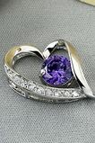 Fialové strieborné srdce v tvare vyložené diamantové šperky žien náhrdelník
