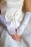 Bežecké dlhé biele vintage elastické saténové svadobné rukavice