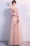 Ilúzia rukávmi Členok dĺžka Prírodné pása Elegantné Družičky šaty