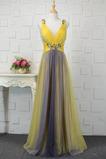 Šifón Skladaný Jar Elegantný A-Riadok Stredná späť Večerné šaty