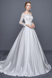 Čipka Elegantné Ilúzia rukávmi Pružina 3/4 Dĺžka rukávov Svadobné šaty