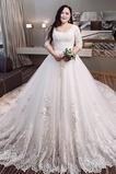Čipka Pružina Katedrály vlak Tri štvrtiny rukávy Svadobné šaty