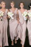 Členok dĺžka Svadobné Bez rukávov Chýbať Skladaný živôtik Družičky šaty
