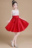 Chýbať Čipka Kolená Klenot Elegantné Čipkou Overlay Kvetinové šaty