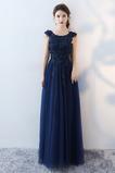 Vyšívanie A Riadok Čipka Bateau Elegantné Letné Družičky šaty