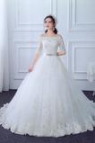 Čipka A Riadok Tyl Čipkou Overlay Formálne Off rameno Svadobné šaty