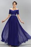 Šifón Chýbať A Riadok Krátke rukávy Elegantné Zips hore Večerné šaty
