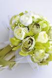 Biela kamélia zelená kórejská nevesta simulácia kvety na svadbu v ruke