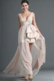 Asymetrické Zips hore Šifón Asymetrické Krištáľový kvetinový čap Prom Obleko