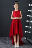 Tyl Šperk Elegantné Vysoký nízky Čipka Asymetrické Kvetinové šaty