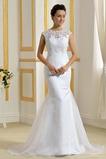 Vysoká zahrnuté Drobunký Čipkou Overlay Klesol pasu Svadobné šaty