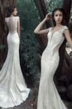 Očarujúce Prírodné pása Bez rukávov Jeseň Čipka Svadobné šaty