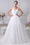 Satén Romantické S hlbokým výstrihom Beaded pásu Svadobné šaty