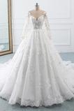 A Riadok Klasický Spadnúť Číre zadné Čipka Ilúzia rukávmi Svadobné šaty