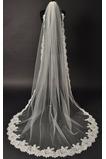 Okouzlující svadobné Veil Čipka tkanina s hrebeňom Chapelle Long