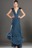 Zelenomodrá Nášivky Elegantné Klesol pasu Pošva Večerné šaty