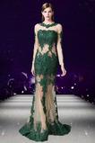 Široký plytký výstrih Zavesený Ilúzia rukávmi Prírodné pása Večerné šaty