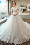 A Riadok Nášivky Pružina Satén Širokým hrdlom Kráľovský vlak Svadobné šaty