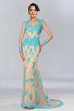 Morská panna Ilúzia rukávmi Zamiesť vlak Šik Prírodné pása Večerné šaty