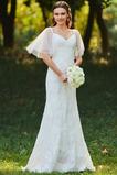 Pošva Pláž Voľná rukávmi Klesol pasu Čalúnené Elegantný Svadobné šaty