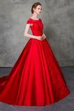 Krátke rukávy Satén Prírodné pása Nášivky Elegantné Svadobné šaty