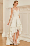 Asymetrické Zips hore Široký plytký výstrih Prírodné pása Svadobné šaty