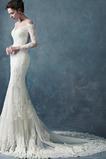 Morská panna Dlhé Zips nahor Ilúzia rukávmi Portrét Svadobné šaty