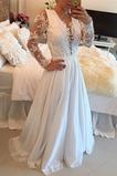 Hlboký výstrih Čipka Letné Ilúzia rukávmi Vonkajší Svadobné šaty