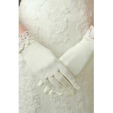 Slonoviny vhodné Satin Lace krátke svadobné rukavice