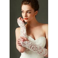 Slonovinové svadobné rukavice Čipka Fabric Decoration Translucent Fall