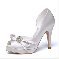 Svadobné topánky s otvorenou špičkou, saténové nepremokavé topánky na vysokom podpätku, svadobné vysoké podpätky