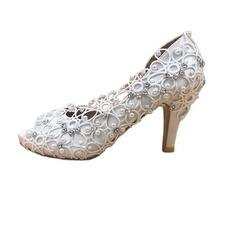 Svadobné topánky zo saténovej čipky s drahokamovými ihličkovými svadobnými topánkami ručne vyrábané svadobné topánky