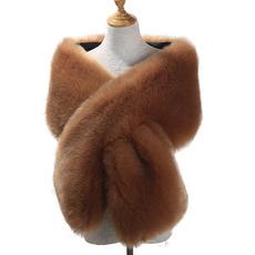 Faux líška vlasy večere šaty šatka šatku šatku