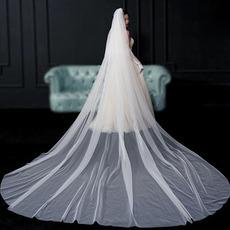 Zadný závoj nevesty jednoduchý závoj svadobné fotografie svadobný doplnok s dlhým závojom