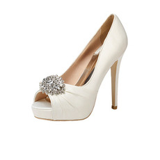 12cm drahokamové svadobné topánky na vysokom podpätku Saténové spoločenské topánky