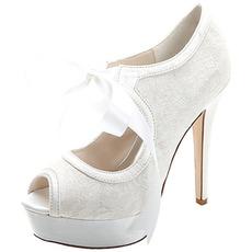 Elegantná čipka s vysokými podpätkami vodotesná platforma dámska obuv saténové remienky banketové svadobné topánky módne topánky