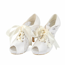 Rybie ústa čipkované vysoké podpätky retro duté sandále svadobné vysoké podpätky