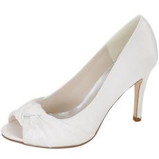 Svadobné topánky pre rybie hlavy, saténové svadobné topánky, ihlové šaty, topánky vysokej kvality pre banketové topánky