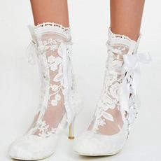 Módne dámske čižmy duté vysoké podpätky biela čipka dámske čižmy svadobné dámske čižmy