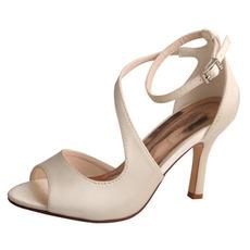 Svadobné svadobné topánky s otvorenými prstami na ústach, vysoké podpätky, svadobné topánky, sandále na saténový ples