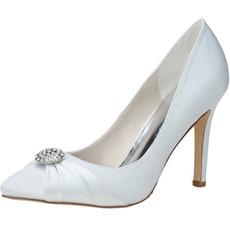 Nové drahokamové topánky so saténovou dámskou svadobnou obuvou pre družičky