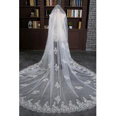 Svadobné závoj pokrytý čipkou biele čipky Lace tkaniny
