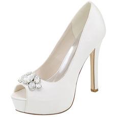 Večerné topánky drahokamu svadobné topánky sexy ryby ústa vysoký podpätok svadobné topánky ihlové sandále
