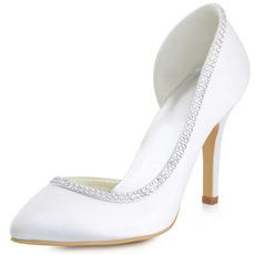Saténové hodvábne špicaté drahokamové svadobné topánky bočné duté ihlové svadobné topánky